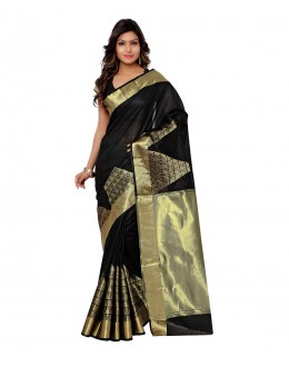 Designer Black Banarasi Cotton Silk Saree  - 80287