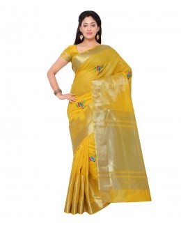 Designer Yellow Banarasi Silk Saree  - 80289
