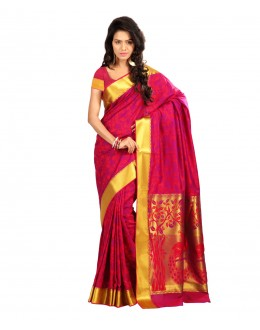 Traditional Pink Art Silk Saree  - 80296