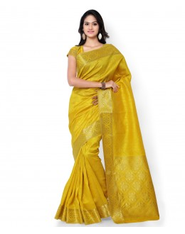 Traditional Yellow Banarasi Cotton Silk Saree  - 80302