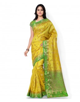 Traditional Yellow Banarasi Cotton Silk Saree  - 80303