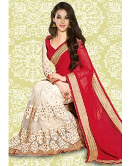 Bollywood Inspired : Festival Wear Red Georgette Saree - 803037F