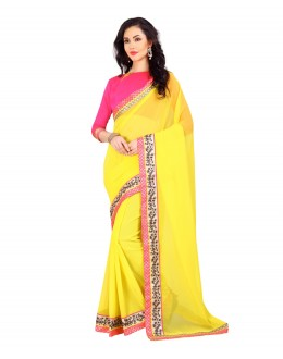 Festival Wear Yellow Georgette Lace Work Saree  - 803035