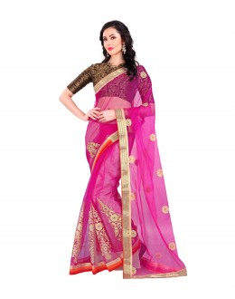 Festival Wear Pink Embroidery Work Saree  - EBSFS212114