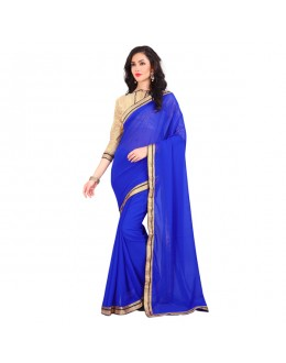 Ethnic Wear Blue Georgette Lace Work Saree  - EBSFS212143B