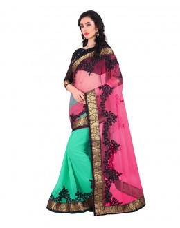 Party Wear Pink & Green Embroidery Saree  - EBSFS212145
