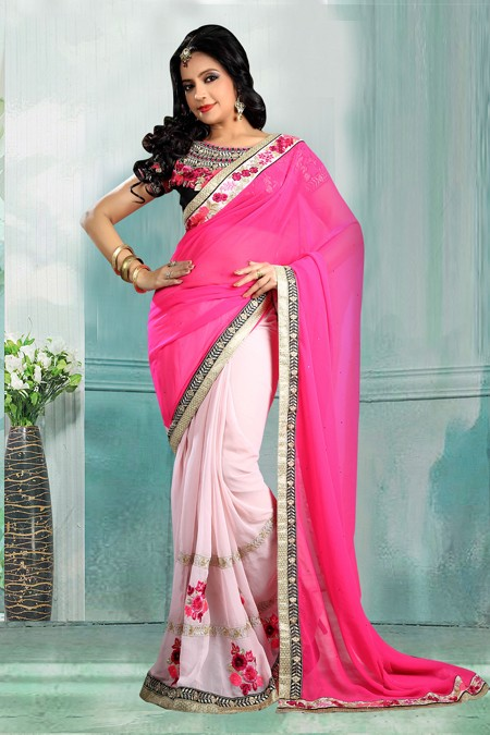 Bollywood Inspired - Party Wear Pink Half-Half Saree  - 80723