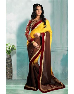 Bollywood Inspired - Yellow & Brown Half-Half Saree  - 80724