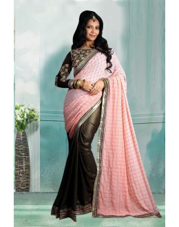 Bollywood Inspired - Ethnic Wear Georgette Half-Half Saree  - 80725