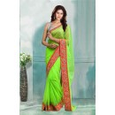 Bollywood Inspired - Party Wear Green Saree  - 80729