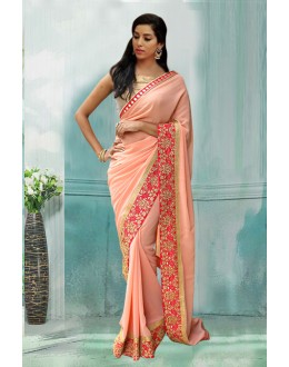 Bollywood Inspired - Festival Wear Peach Saree  - 80730