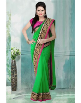 Bollywood Inspired - Georgette Green Saree  - 80734
