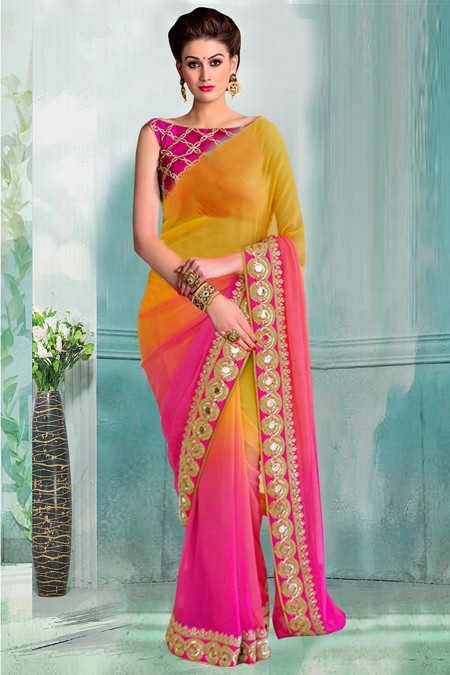 Bollywood Inspired - Yellow & Pink Half & Half Saree  - 80736