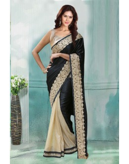 Bollywood Inspired - Party Cream & Black Saree  - 80738