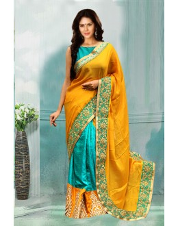 Bollywood Inspired - Yellow & Green Half & Half Saree  - 80739