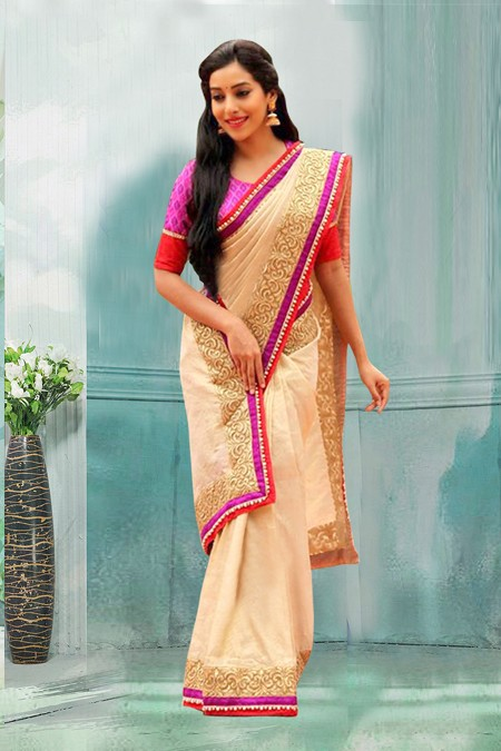 Bollywood Inspired - Party Wear Cream Saree  - 80740