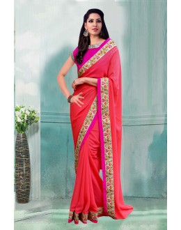 Bollywood Inspired - Georgette Peach Saree  - 80741