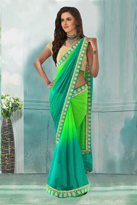 Bollywood Inspired - Party Wear Green Saree  - 80743