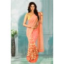 Bollywood Inspired - Ethnic Wear Peach Net Saree  - 80745