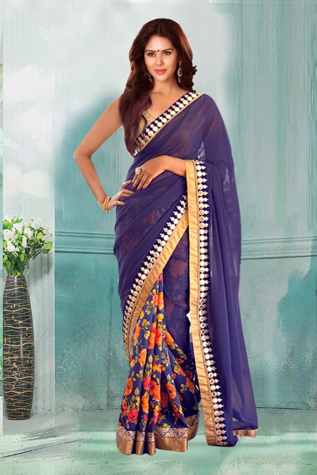Bollywood Inspired - Ethnic Wear Navy Blue Saree  - 80746