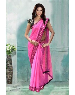 Bollywood Inspired - Georgette Pink Embroidery Saree  - 80748