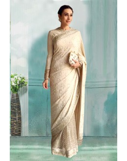 Bollywood Inspired - Karisma Kapoor In Off White Saree  - 80751
