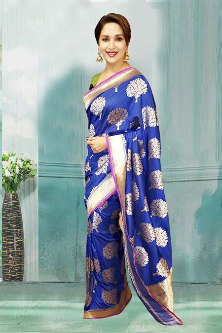 Bollywood Inspired - Madhuri Dixit In Blue Saree  - 80754