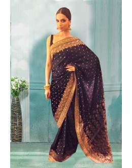 Bollywood Inspired - Deepika Padulkone In Black Saree  - 80755