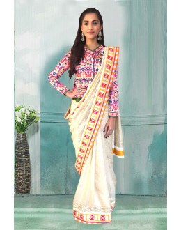 Bollywood Inspired - Sonam Kapoor In Cream Saree  - 80758
