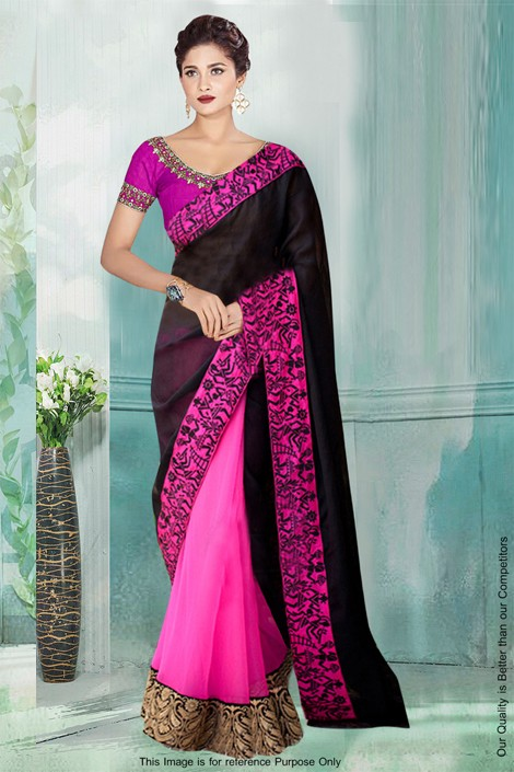 Bollywood Inspired - Georgette Half & Half Saree  - 80770