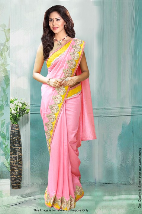 Bollywood Inspired - Festival Wear Pink Saree  - 80775