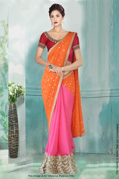 Bollywood Inspired - Georgette Half & Half Saree  - 80776