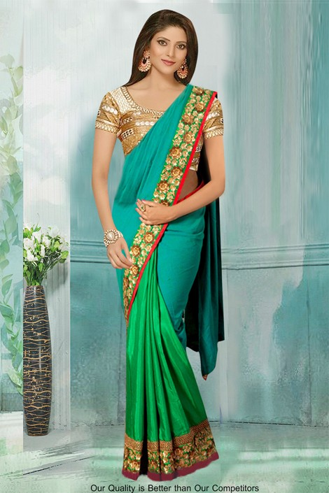 Bollywood Inspired - Festival Wear Green Saree  - 80782