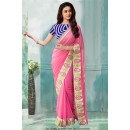 Bollywood Inspired - Georgette Pink Embroidery Saree  - 80788