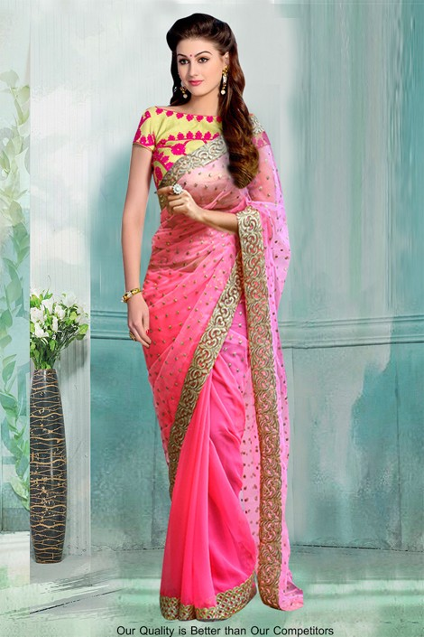 Bollywood Inspired - Festival Wear Pink Saree  - 80792