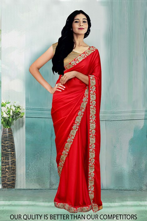 Bollywood Inspired - Ethnic Wear Red Saree  - 80794