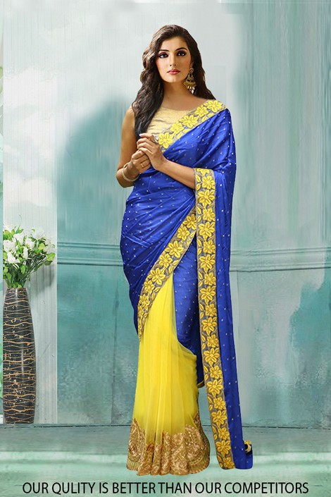 Bollywood Inspired - Party Wear Blue & Yellow Saree  - 80796