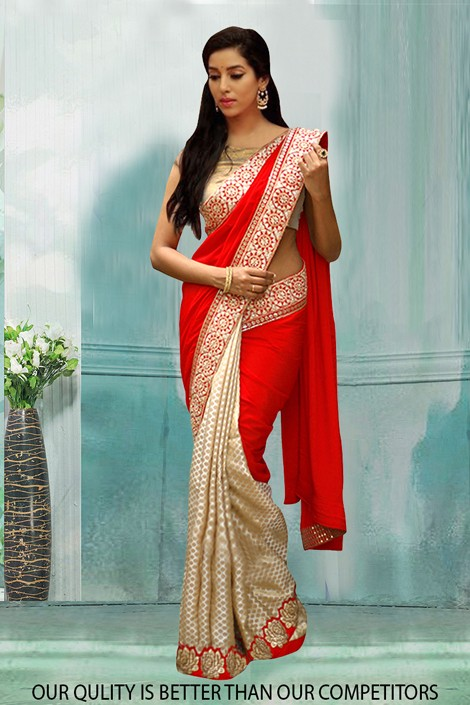 Bollywood Inspired - Festival Wear Red & Cream Saree  - 80798