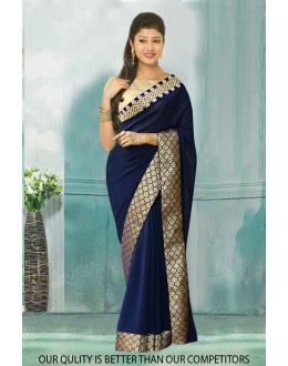 Bollywood Inspired - Ethnic Wear Navy Blue Saree  - 80804