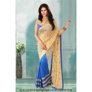 Bollywood Inspired - Party Wear Cream & Blue Saree  - 80805