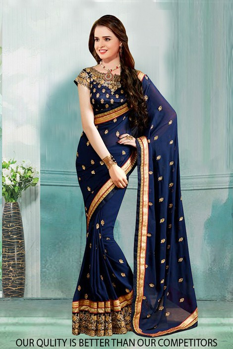 Bollywood Inspired - Party Wear Blue Saree  - 80819