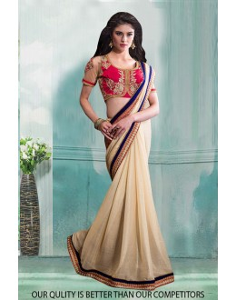 Bollywood Inspired - Party Wear Cream Saree  - 80823