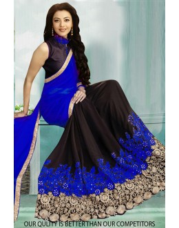 Bollywood Inspired - Ethnic Wear Blue & Black Saree  - 80829