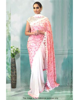 Bollywood Inspired - Sonam Kapoor In Pink & White Saree  - 81280