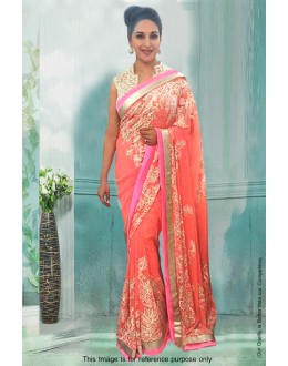 Bollywood Inspired - Madhuri Dixit In Peach Saree  - 81283
