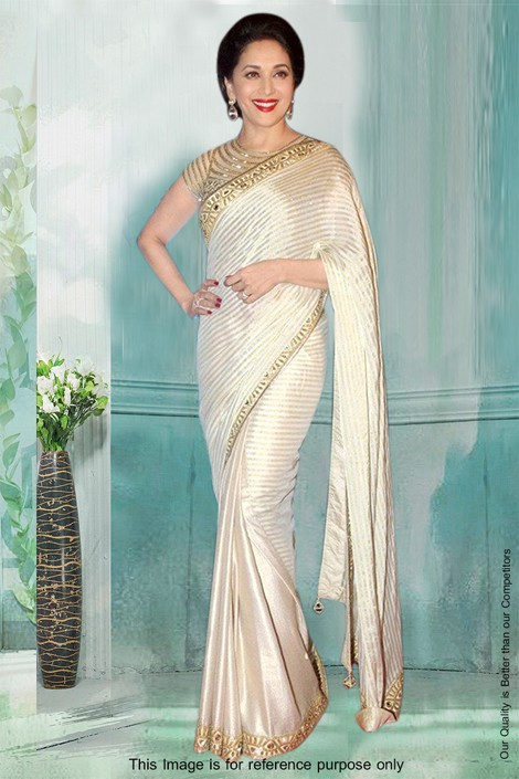 Bollywood Inspired - Madhuri Dixit In Cream Saree  - 81289