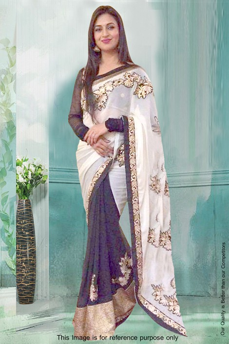 Bollywood Inspired - Georgette White & Black Saree  - 81291