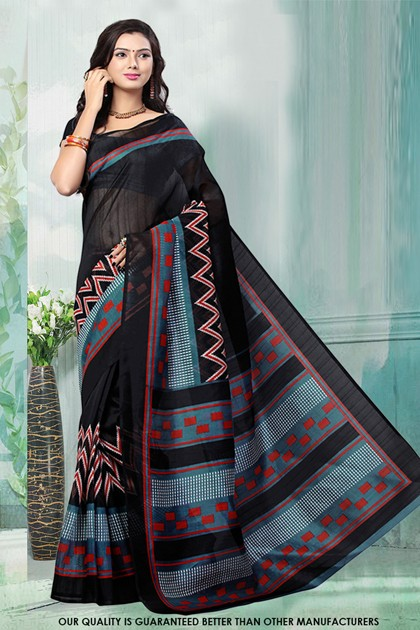 Casual Wear Black Bhagalpuri Saree  - 81475