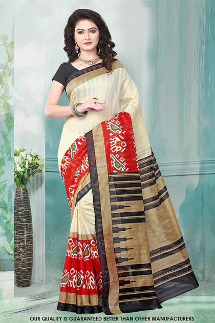 Festival Wear Cream Bhagalpuri Saree  - 81476