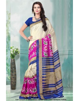 Ethnic Wear Off White Bhagalpuri Saree  - 81477